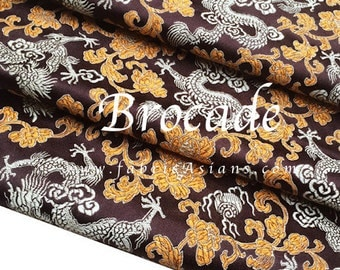Dragon Fabric. Brown Brocade