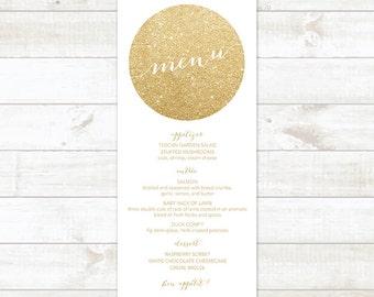 gold circle wedding menu, wedding menu, wedding menu printable, custom wedding menu, gold wreath wedding menu