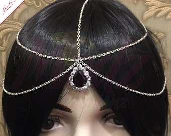 Silver Black Crystal Statement Indian Matha Patti Tikka Head Chain Jewelry Jewellry Bridal Prom Wedding - Madz Fashionz UK
