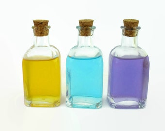 3 Glass Bottles, 50ml Capacity, Square Glass Vials With Cork Lids, For Salts, Perfumes, Oils, Herbs...