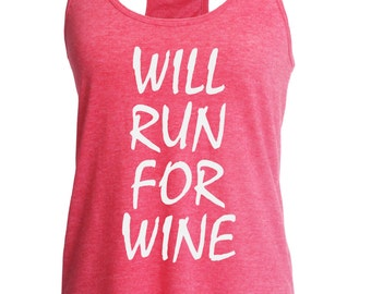 Fast shipping!!  Workout tank. Will run for wine.  Fitness top.  Racerback style.  Funny gym tank. Workout.  Running tank. Beer lover