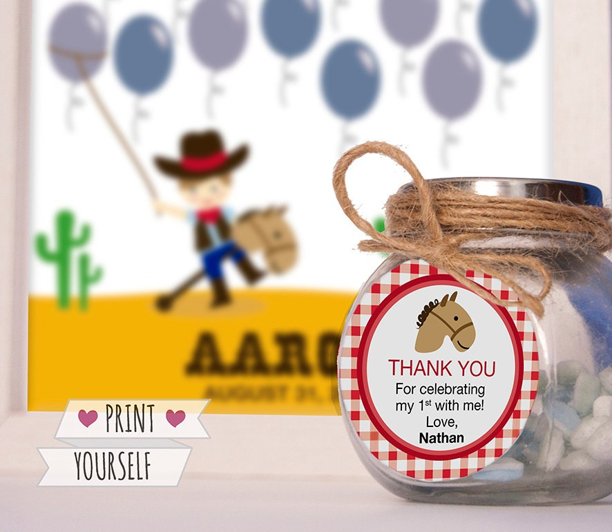 Cowboy party favors printable pdf birthday tags horse baby zoom negle Choice Image