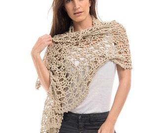 Dune Cotton Crochet Wrap/Crochet Wrap/Crochet Scarf