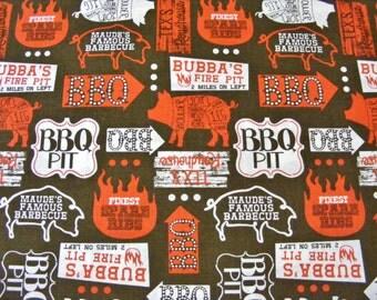 Barbeque theme fabric~Ribs & Bibs~Blend Fabrics~By the yard~Maude Ashbury