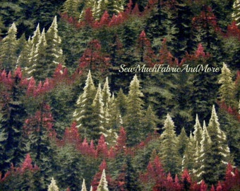 Thomas Kincade EverGreen Forest fabric~by the 1/2 yard~David Textiles~Nature~Scenic Collage of Trees