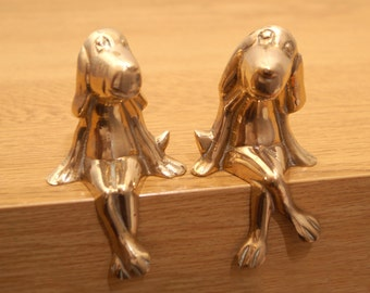 Happy Dog Statues || high quality || Vintage Solid Brass smillig dog Sculpture || sitting dog with his girlfriend