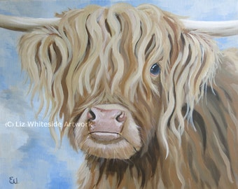 Highland Cow Art, Cow Print, Cow Painting, Limited Edition Print, Highland Cow Painting, Longhorn cow, longhorn cattle, cow art, cow print,