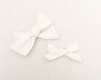 White Fabric Bow, Hand Tied Fabric Bows, Baby Girl, Toddler, Girls Fabric Bow Headband or Hair Clip