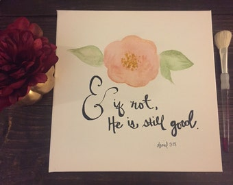 Watercolor flower and verse
