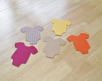 Fall Baby Shower Paper Die Cut Orange, Dark Red, Brown and Yellow Onesie Romper 25 4 Inch Cut Outs