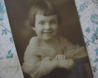 Vintage Studio Portrait Young Girl Sepia - 1920's