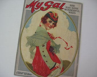 "Antique Sheet Music ""My Gal"" Piano Sheet Music Colorful Graphics Scottish Lass - 1919"
