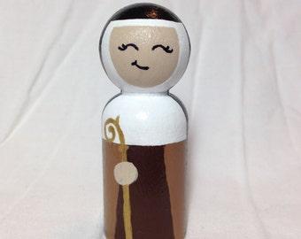 Saint Colette of Corbie, Custom Hand Painted Wooden Peg Doll