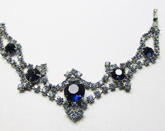 Vintage 1950s Silver Toned Dark Sapphire Blue Rhinestone Bracelet
