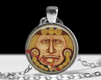 Aztec pendant, Sun dial necklace, Tonatiuh god jewelry,  Mexican ritual necklace, magic talisman, esoteric jewelry, ceremonial magick #323