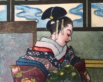 C1910 Fairy tale-Book Plate-Lithograph-Urishimataro- Geisha-Folk tale-Traditional-Magic-Home decor-Ready to frame