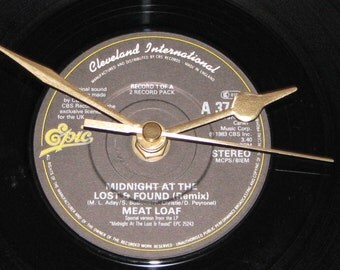 """Meat Loaf midnight at the lost & found  7"""" vinyl record clock"""
