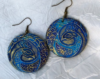PREORDER!!! Painted jewelry-Painted wood earrings-Feather Firebird-Decorative earrings-Unique gift for her-Stylish accessory-Women's fashion