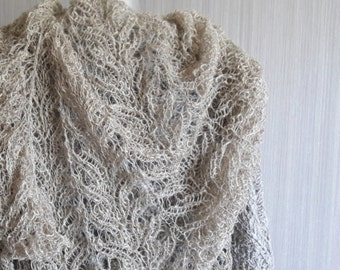 Handknitted Linen Lacy Bactus Scarf