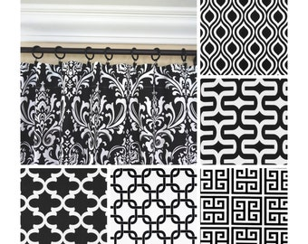 Black and White Window Curtains.White and Black Curtain Panels.Black Damask Drapes.Black Greek Key Curtains.Kitchen Curtains