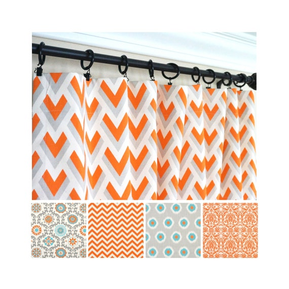 Orange And Silver Curtains Orange And Grey Curtains Deco Window Orange Grey Striped