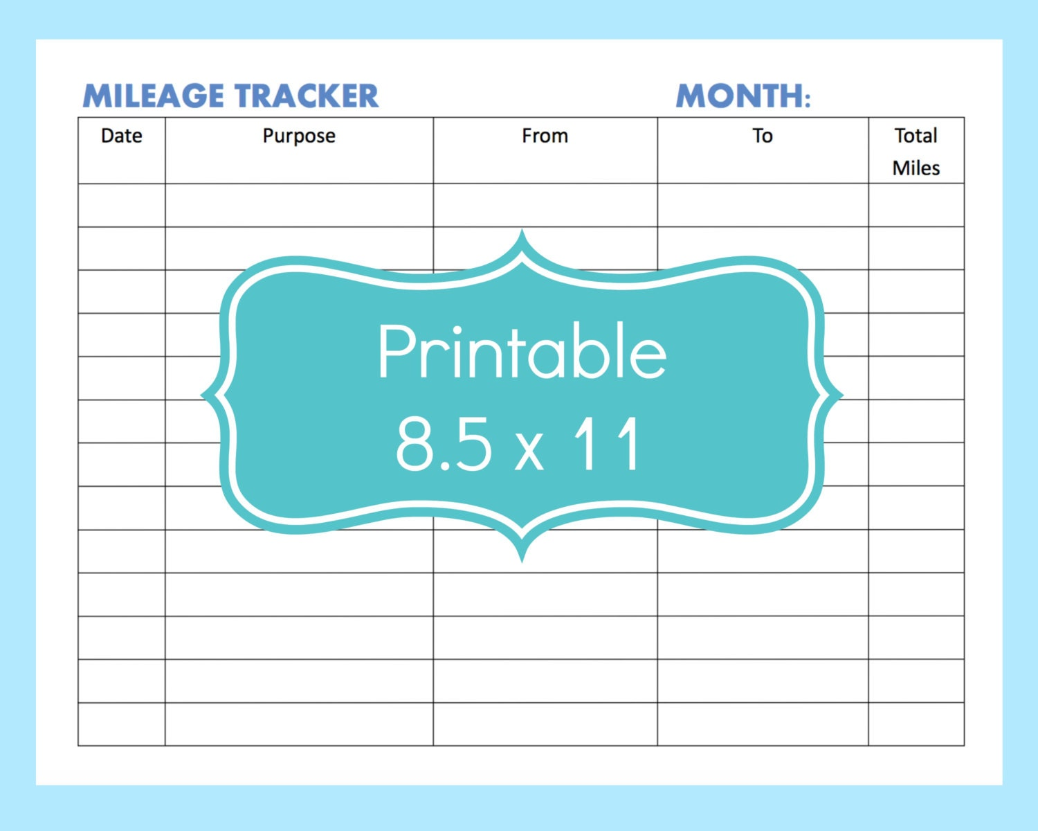 mileage tracker form printable printable mileage tracker. Black Bedroom Furniture Sets. Home Design Ideas