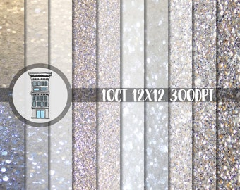 Glitter Digital Paper Pack Instant Download White Silver Sparkle Bling papers for digital scrapbooking planner printables photo backdrops