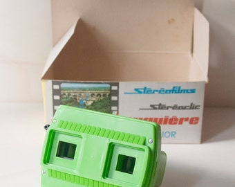 Stereoscopic Viewer, green with box, Bruguiere stereofilm Stereoclick Junior