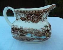Vintage Alfred Meakin Tonquin Brown Staffordshire Milk Jug