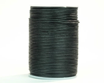 Black Round Leather Cord Lace 2mm x 100m. (2/25in x 328ft)