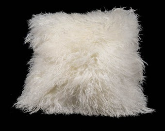 """White 18""""x18"""" Tibet Lamb Pillow with Leather Back"""