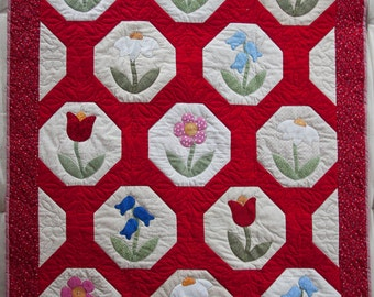 Red Garden Flowers Baby Quilt