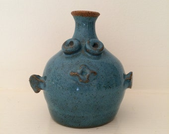 Little Blue Fish Ceramic Face Pot -