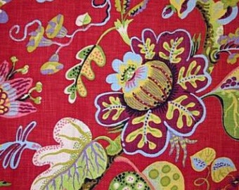 Red Floral Upholstery Fabric - Wonderland Ruby - P Kaufmann - Bold Floral Fabric - Drapery Fabric