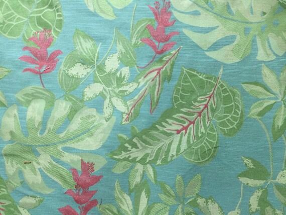 Tropical Botanical Aqua Pink Green Upholstery Fabric