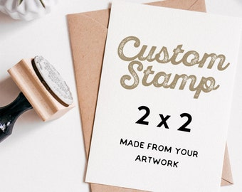 "Custom Rubber Stamp 2"" x 2"", Custom Logo Stamp, Custom Wedding Stamp, made from your artwork,  stamp or Traditional Wood Mounted"
