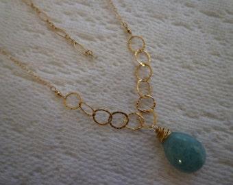 AQUA QUARTZ NECKLACE. Handwrapped Aqua Quartz Necklace. Handmade Jewelry. Jennifer Cheri Design. Hand-wired. Hand Hammered. 14k Gold Fill