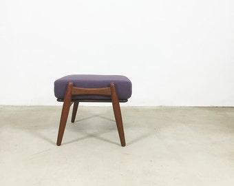 "60s Hans Wegner TEAK Stool ""CIGAR""  by GETAMA, Denmark w/ new purple wool cushion   Eames Panton era   chair ottoman stool midcentury modern"
