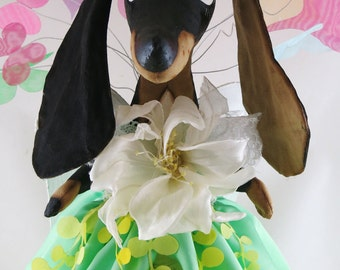 "Special Order for Heather  Dachshund doll, dachshund fairy 16,1"",Interior doll,,dog doll,soft sculpture dachshund,dog animal decor"