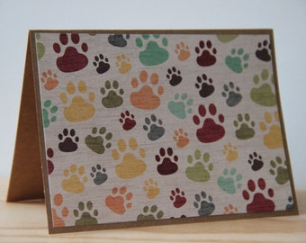 9 Paw Print Cards.  Pet Note Card Set.  Dog Note Card Set. Dog Thank You Cards. Pet Sympathy Cards. Blank Animal Print Cards.  Dog Card