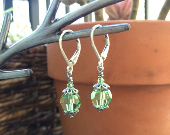 Green Crystal Earrings for Women, Silver Leverback Dangle, Simple Everyday Jewelry, Gift for Coworker, Y011