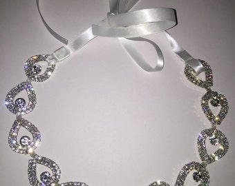 Rhinestone Bridal Headpiece, headband, wedding headpiece, wedding headband, bridal headband, bridal headpiece, hair accessories, sash, belt