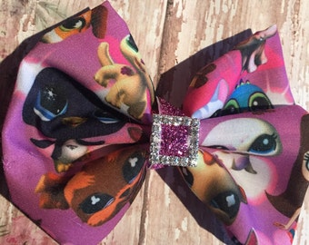 Littlest Pet Shop inspired hair bow with rhinestone center