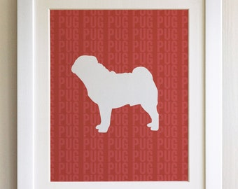 FRAMED Pug Dog Print - Red, Birthday, New Home, Black or White frame, Fab Picture Gift