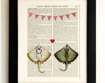 ART PRINT on old antique book page - Stingray in Love, Bunting, Vintage Upcycled Wall Art Print Encyclopaedia Dictionary Page, Fab Gift!