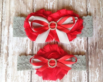 Red and Grey Garter Set | Team Colors Wedding Garters | Bridal Garter and Toss Garter