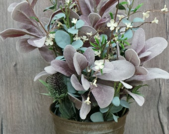 Eucalyptus Bunch with Greenery in Metal Container