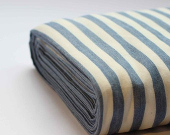 Organic cotton blue and white stripped fabric