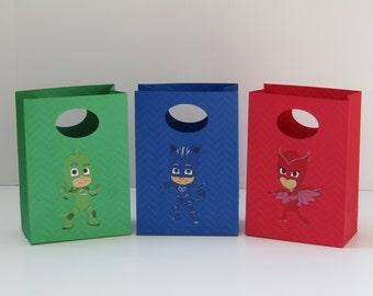 12 PJ Mask Party Favor Bag - Candy Bag-Embossed Treat Bag - Goody Bag- Gift Bag - PJ Mask Boy/Girls Birthday Bag-PJ Mask Classroom Favor Bag