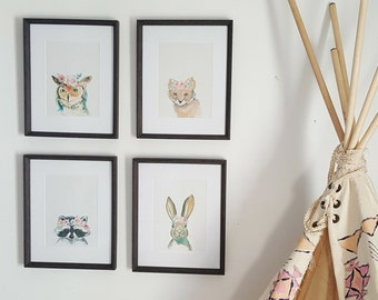 Series of Four Flower Crown Woodland Animal Watercolour Prints